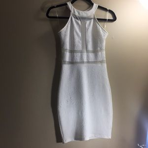 Solemio White cutout body-con dress
